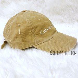 91bdad549ee8c Calvin Klein Accessories - Calvin Klein Tan Corduroy Strapback Dad Hat Cap